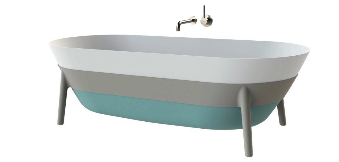 Badewanne Tricolore aus mehrfarbigem Stahl-Email – Werner Aisslinger für Kaldewei.