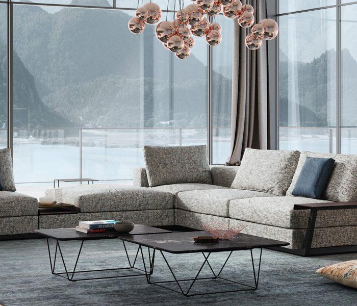Wohnen mit 360-Grad-Perspektive, das bietet die neue Living Landscape 755 von Walter Knoll, eine moderne und wandelbare Sofalandschaft, designed by EOOS.
