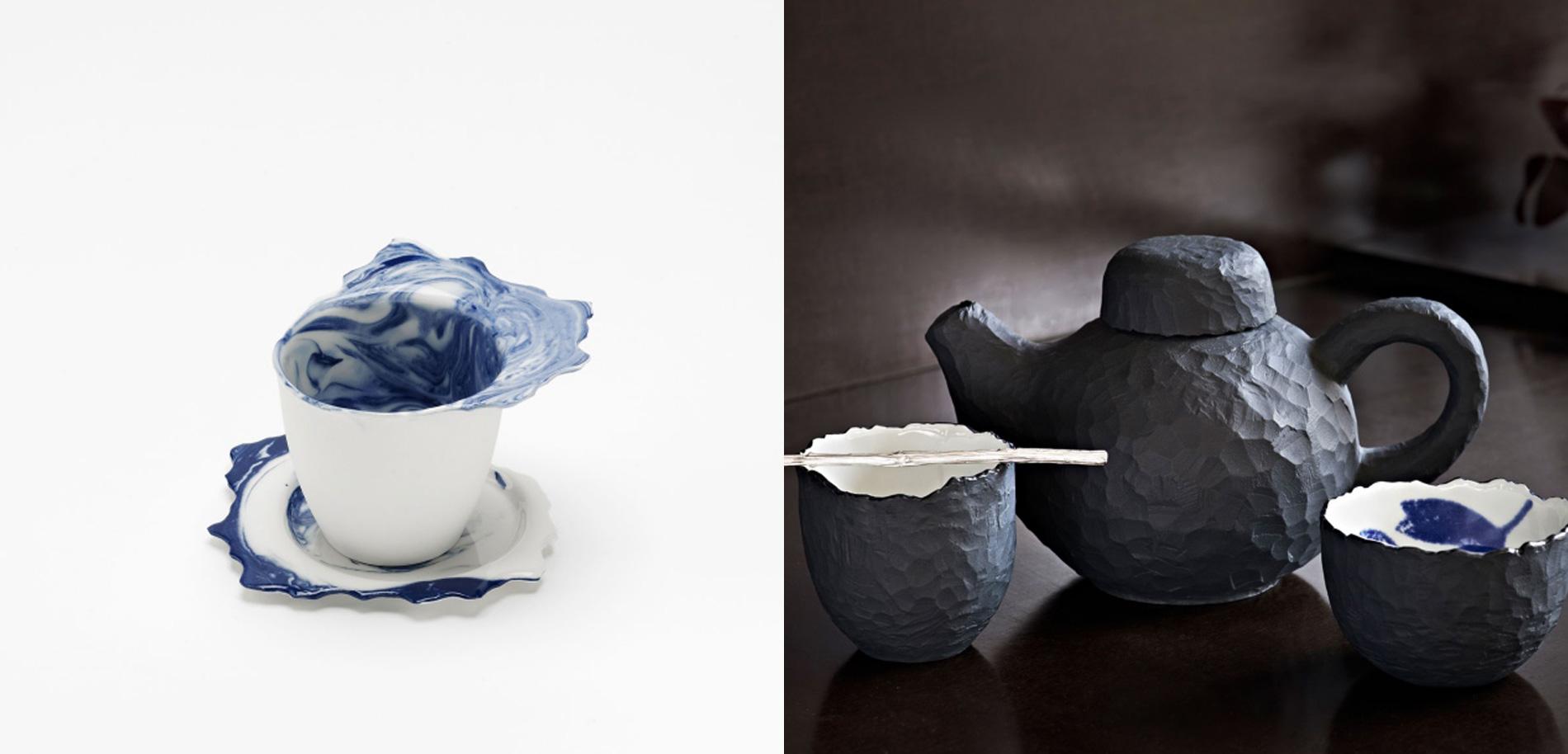 Kaffeetasse und Untertasse sowie Teeschalen und Teekanne von Pia Pasalk.