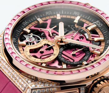 Perfekt eingeschalt präsentiert sich das aufwändig dekorierte El Primero Automatikchronographenwerk im Damenuhren-Sondermodell Zenith Defy 21 Pink Edition.