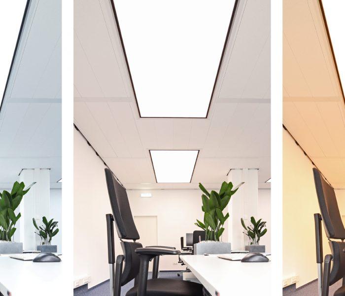 """INDUSAIL LUMINOUS verbessert das Arbeitsklima gleich vierfach. Die Serie vereint Flächenbeleuchtung mit Lüftung, Kühlung und der nicht minder wichtigen akustischen Dämmung. Bei der optionalen Zusatzvariante """"tunable white"""" lässt sich außerdem die Lichtfarbe stufenlos einstellen."""