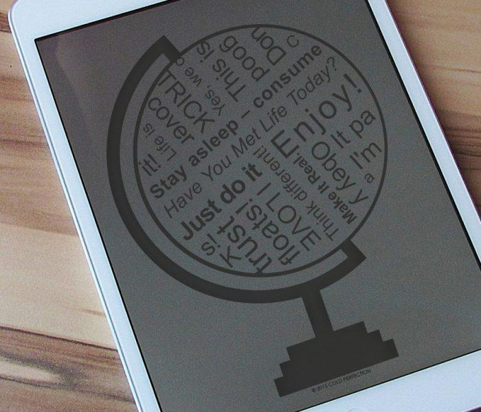 Die ganze Welt als Slogan – Symbolbild zum RGBMAG-Essay über den Wandel der Kommunikation hin zu Kurzformen und über die gesellschaftlichen Folgen des Phänomens.