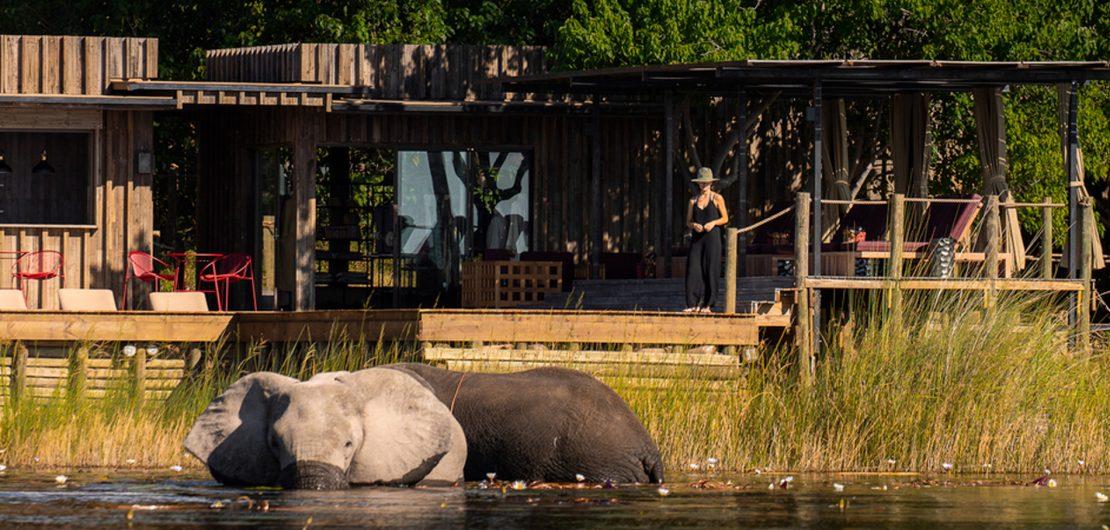 Die Prognosen für den Erhalt der Artenvielfalt in Afrika sind düster. Ist eine auf die Tierwelt setzende Tourismusindustrie vielleicht der letzte Ausweg? Das Foto zeigt DumaTau im Norden von Botswana, gelegen an der Osprey Lagune, wo sich Elefantenherden und andere Wildtiere direkt vom Camp aus beobachten lassen.